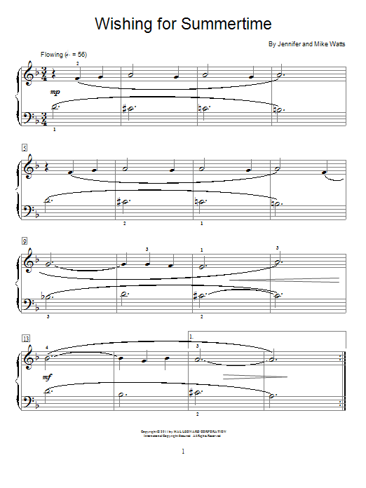 Jennifer Watts Wishing For Summertime sheet music notes and chords. Download Printable PDF.