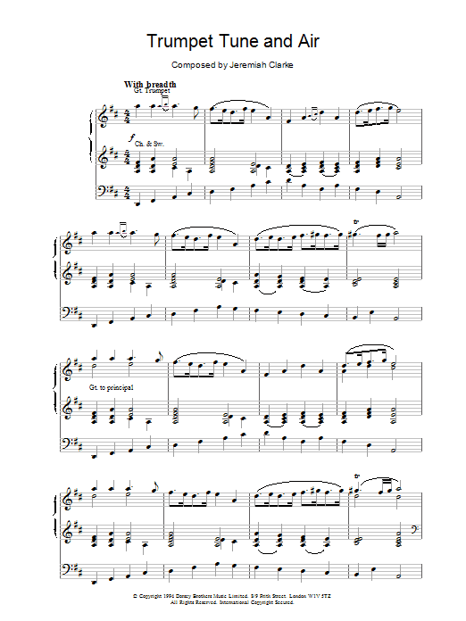 Henry Purcell Trumpet Tune sheet music notes and chords. Download Printable PDF.