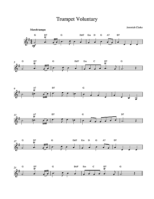 Jeremiah Clarke Trumpet Voluntary sheet music notes and chords. Download Printable PDF.