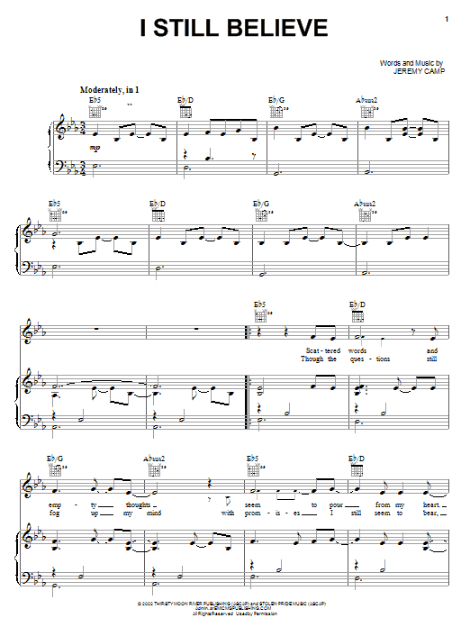 Jeremy Camp I Still Believe sheet music notes and chords. Download Printable PDF.