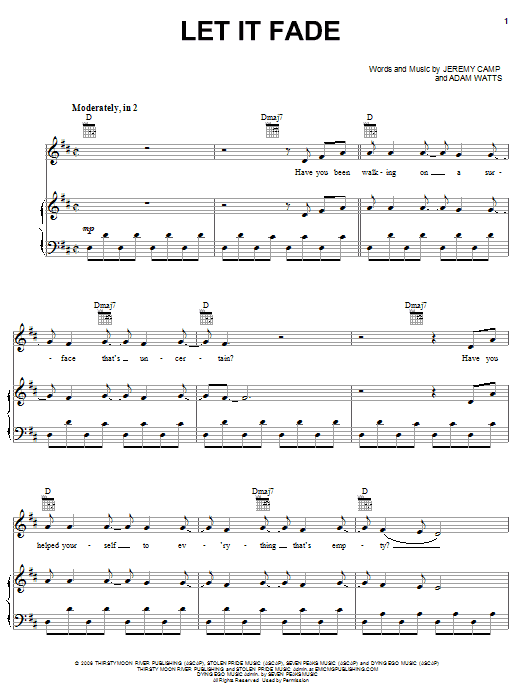 Jeremy Camp Let It Fade sheet music notes and chords. Download Printable PDF.