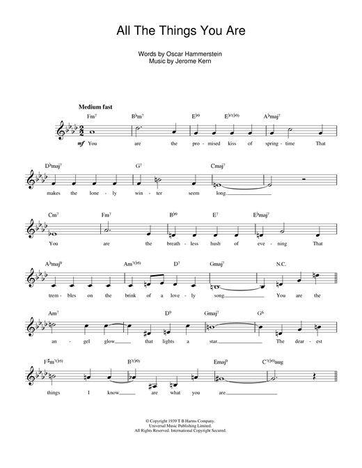 Jerome Kern All The Things You Are sheet music notes and chords. Download Printable PDF.