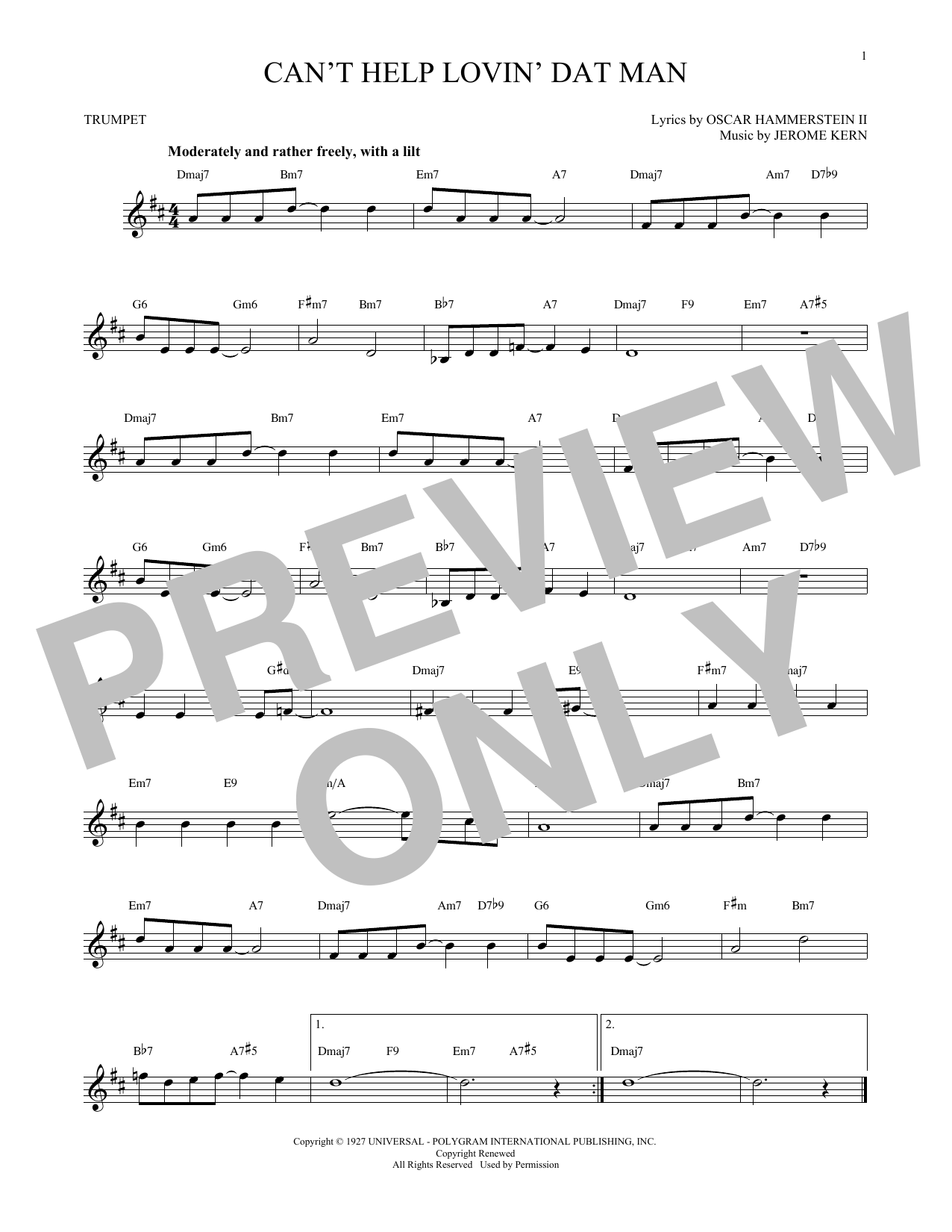 Jerome Kern Can't Help Lovin' Dat Man (from Show Boat) sheet music notes and chords. Download Printable PDF.