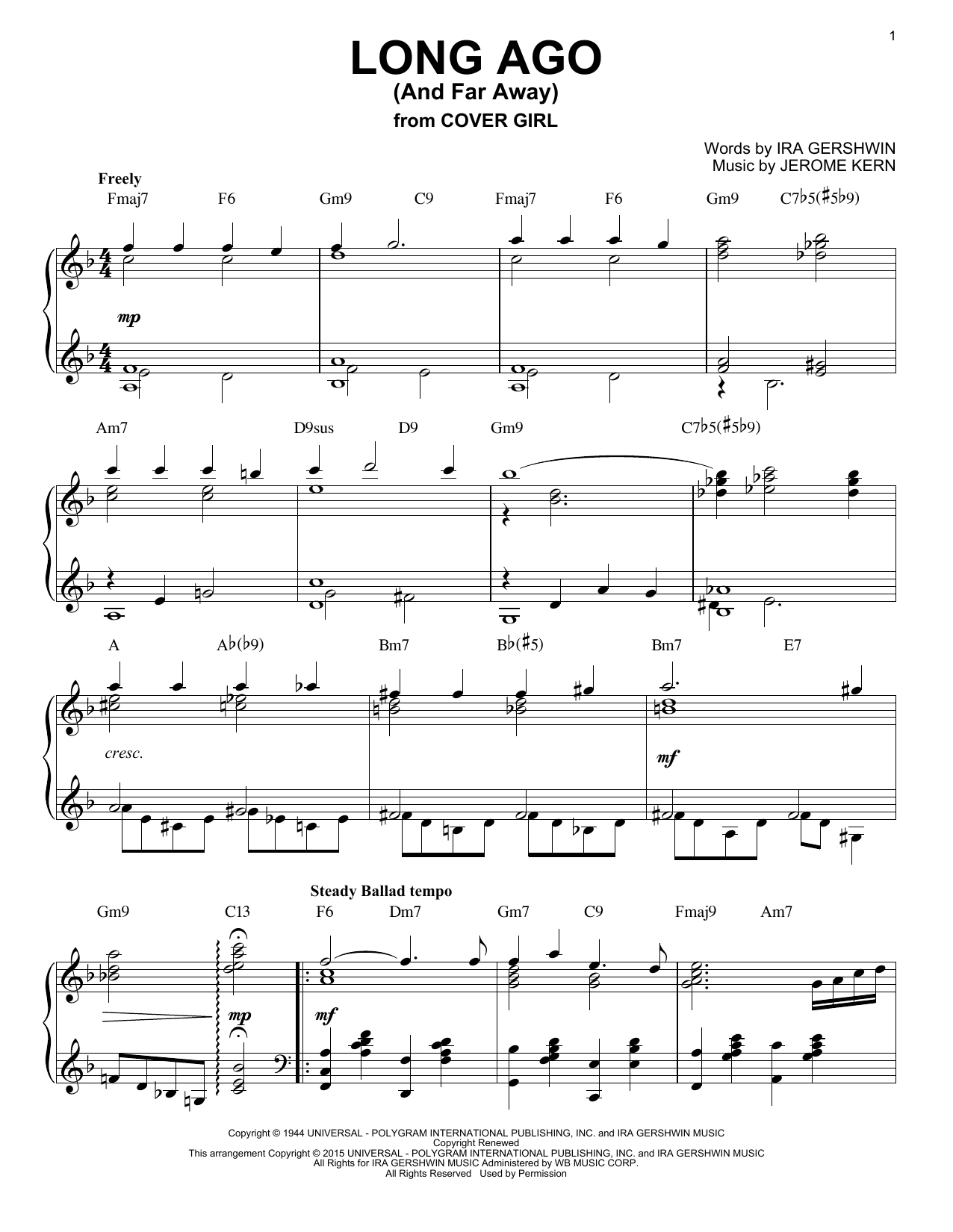 Jerome Kern Long Ago (And Far Away) [Jazz version] (arr. Brent Edstrom) sheet music notes and chords. Download Printable PDF.