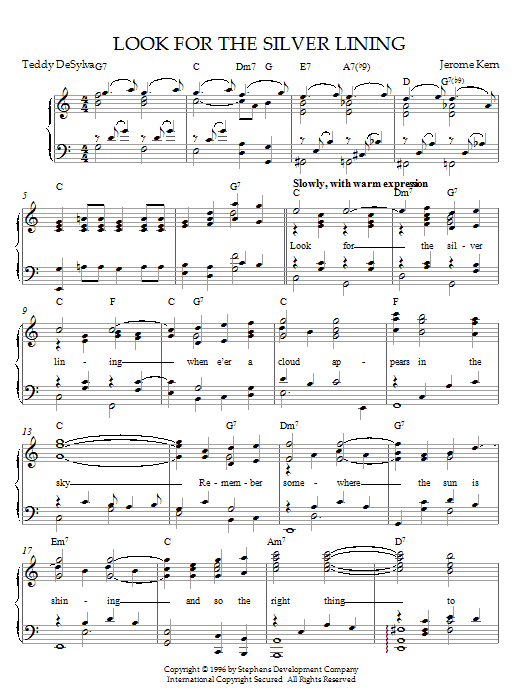 Jerome Kern Look For The Silver Lining (from Sally) sheet music notes and chords. Download Printable PDF.