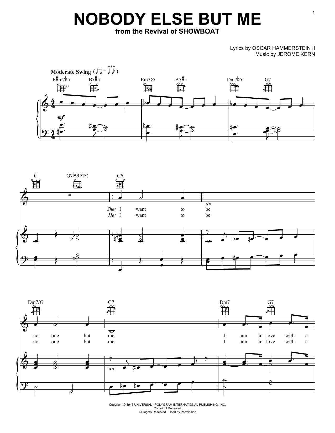 Jerome Kern Nobody Else But Me sheet music notes and chords. Download Printable PDF.