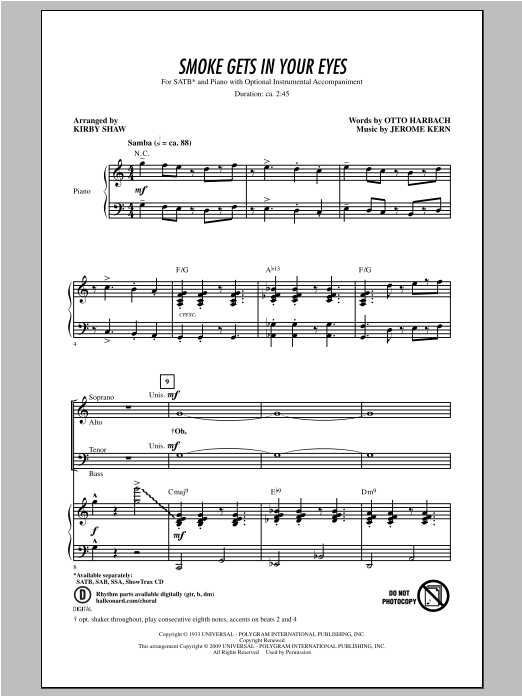 Jerome Kern Smoke Gets In Your Eyes (arr. Kirby Shaw) sheet music notes and chords. Download Printable PDF.