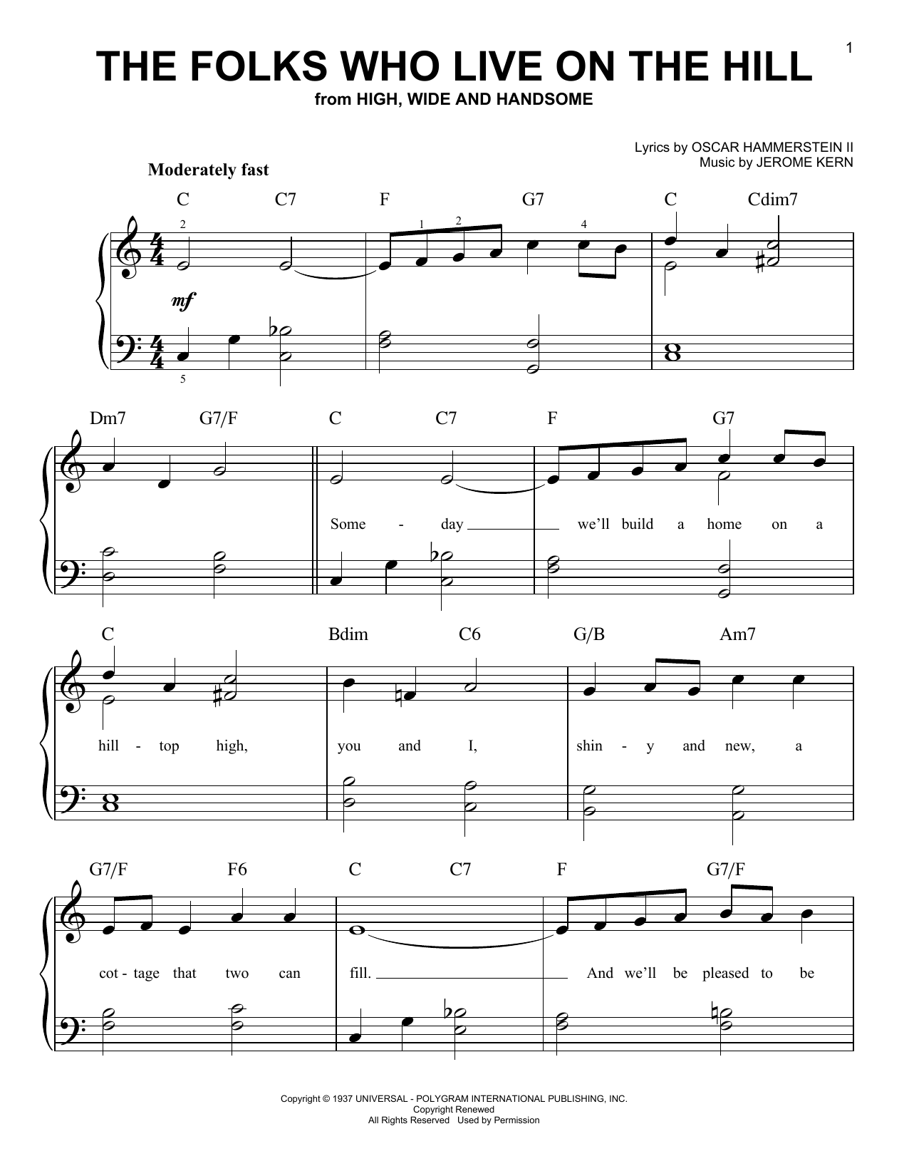 Jerome Kern The Folks Who Live On The Hill sheet music notes and chords. Download Printable PDF.