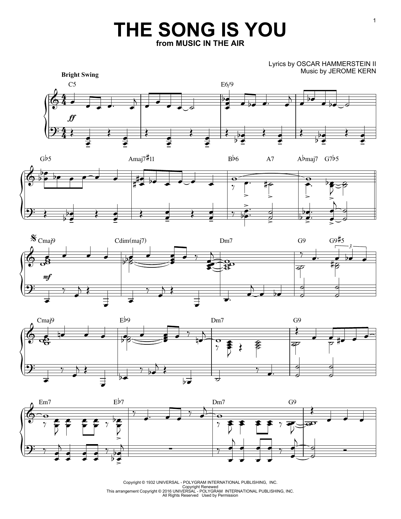 Jerome Kern The Song Is You (arr. Brent Edstrom) sheet music notes and chords. Download Printable PDF.