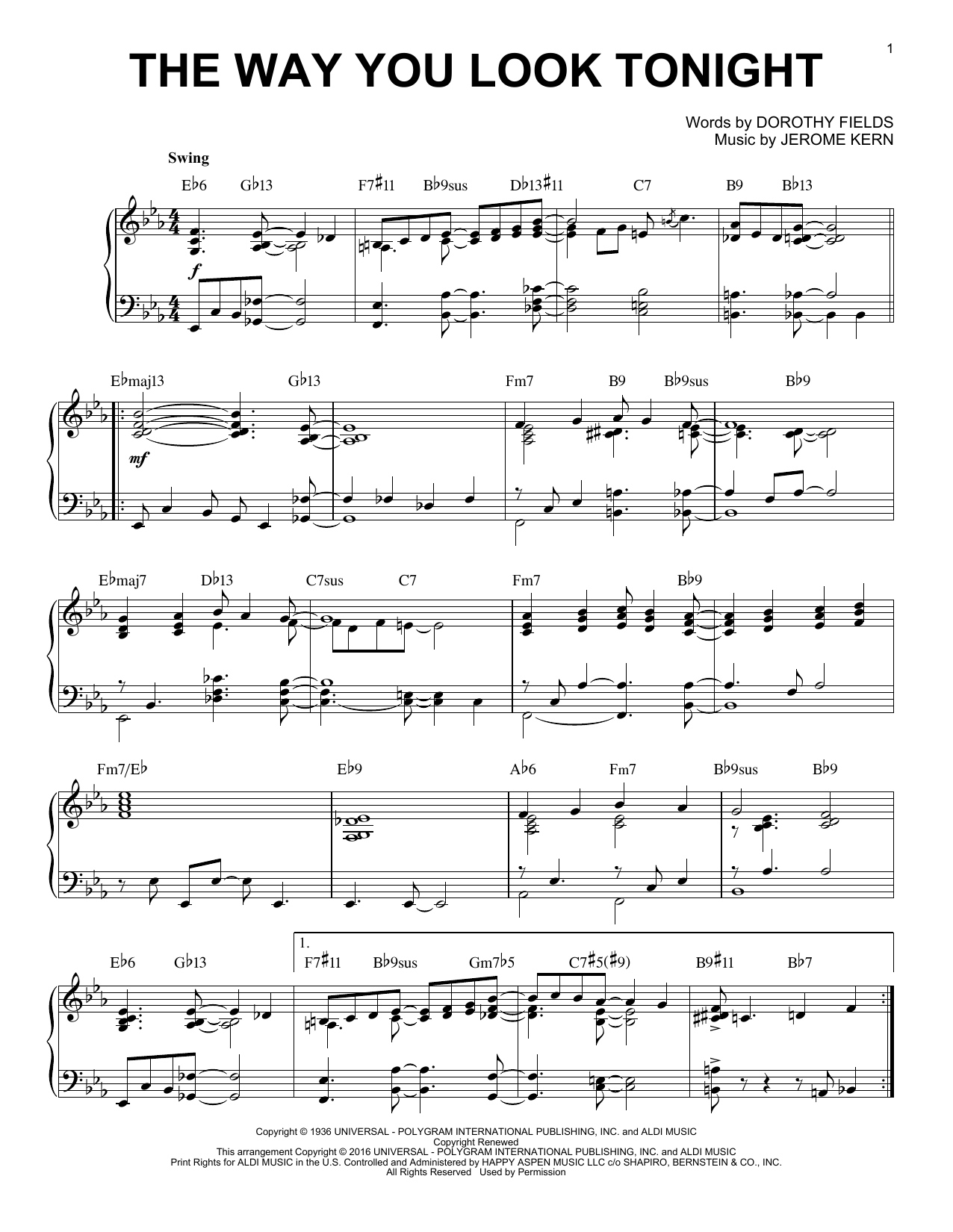Jerome Kern The Way You Look Tonight [Jazz version] (arr. Brent Edstrom) sheet music notes and chords. Download Printable PDF.