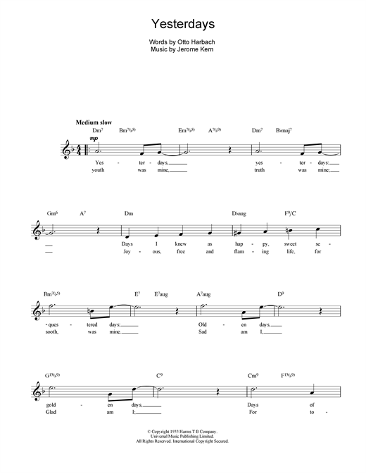 Jerome Kern Yesterdays sheet music notes and chords. Download Printable PDF.