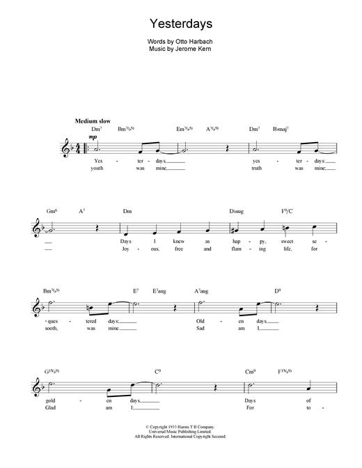 Jerome Kern Yesterdays sheet music notes and chords. Download Printable PDF.