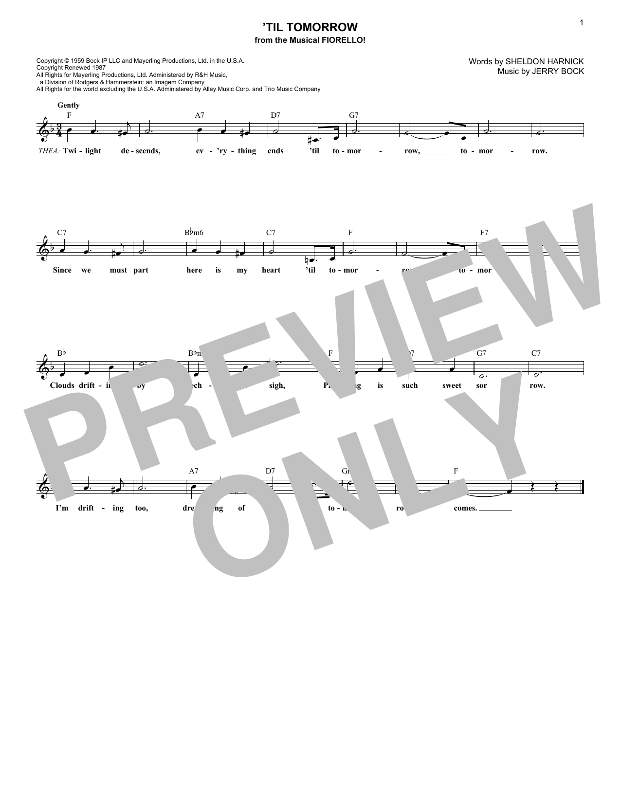 Jerry Bock 'Til Tomorrow sheet music notes and chords. Download Printable PDF.