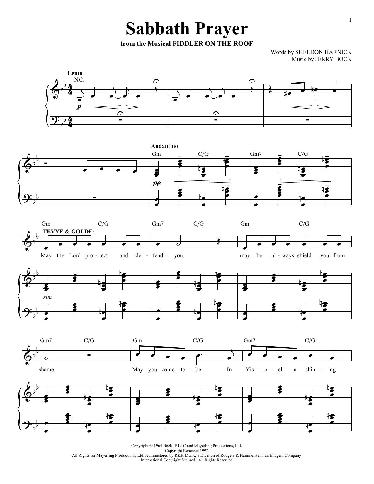 Jerry Bock Sabbath Prayer sheet music notes and chords. Download Printable PDF.