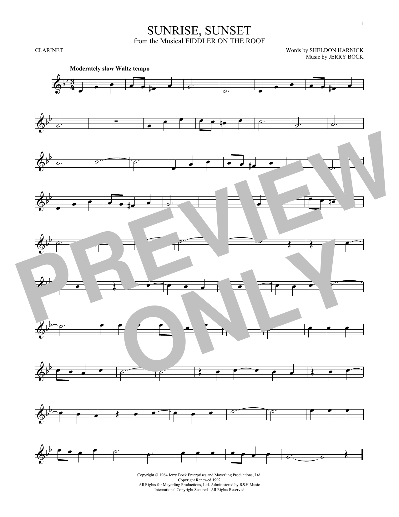 Jerry Bock Sunrise, Sunset sheet music notes and chords. Download Printable PDF.