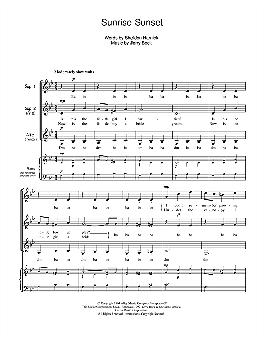 Jerry Bock Sunrise, Sunset (from Fiddler On The Roof) sheet music notes and chords. Download Printable PDF.