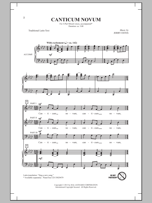Jerry Estes Canticum Novum sheet music notes and chords. Download Printable PDF.