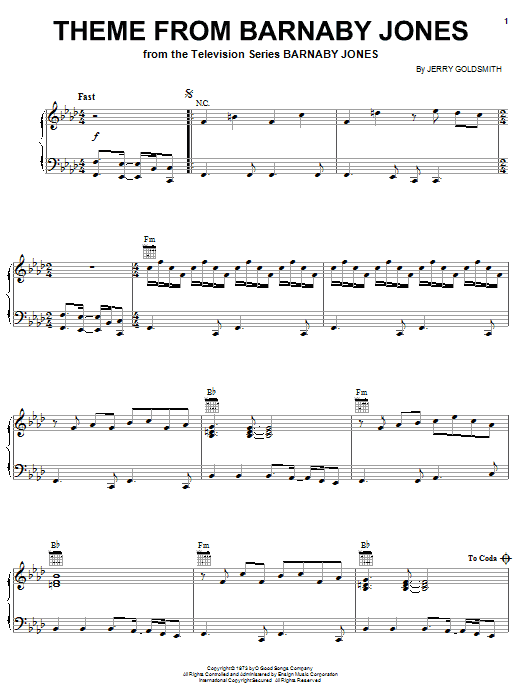 Jerry Goldsmith Theme from Barnaby Jones sheet music notes and chords. Download Printable PDF.