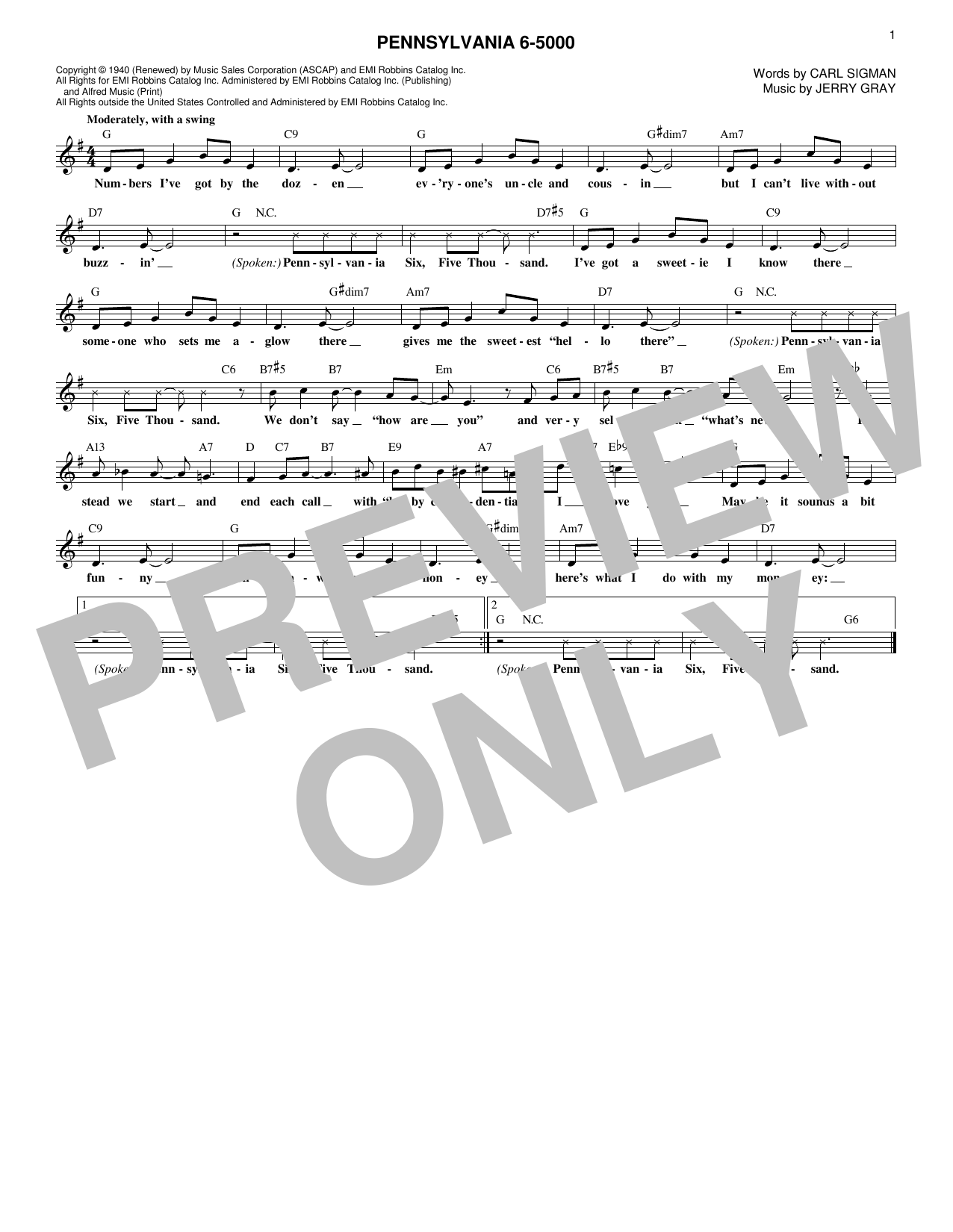 Jerry Gray Pennsylvania 6-5000 sheet music notes and chords. Download Printable PDF.