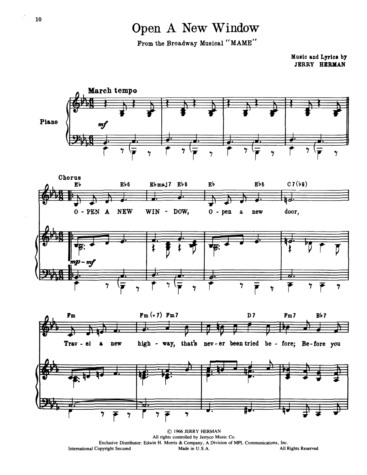 Jerry Herman Open A New Window (from Mame) sheet music notes and chords. Download Printable PDF.