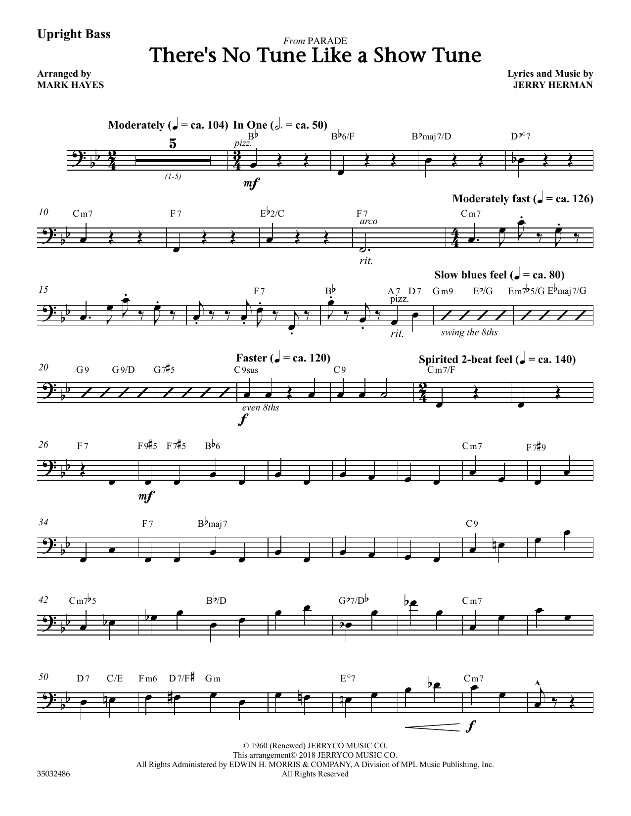 Jerry Herman There's No Tune Like a Show Tune (arr. Mark Hayes) - Upright Bass sheet music notes and chords. Download Printable PDF.