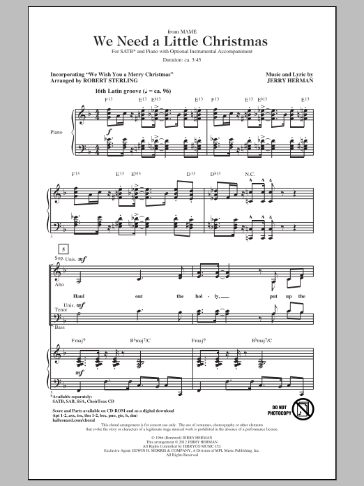 Jerry Herman We Need A Little Christmas sheet music notes and chords