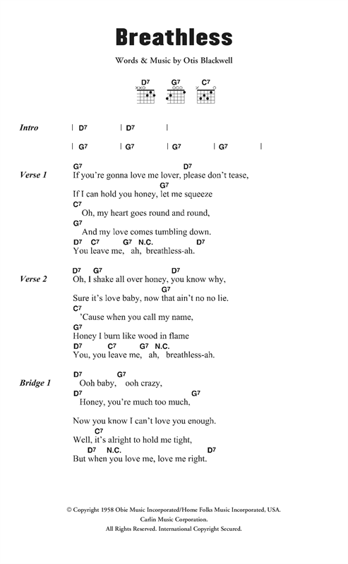 Jerry Lee Lewis Breathless sheet music notes and chords. Download Printable PDF.
