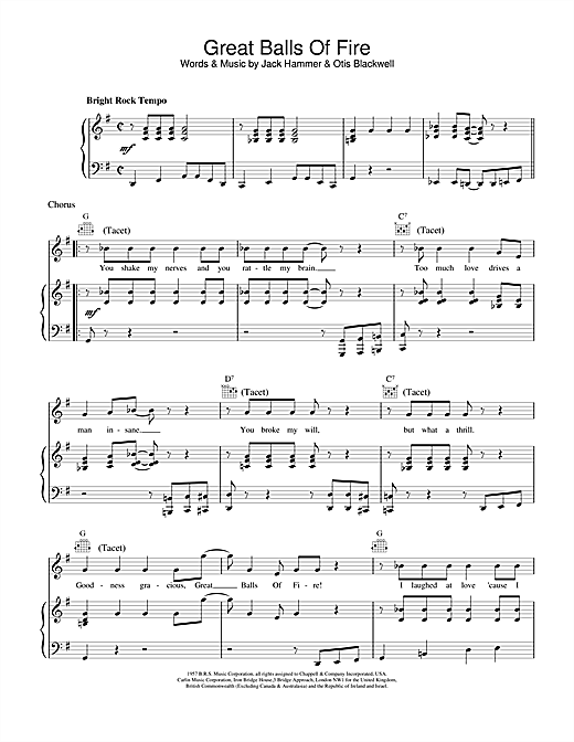 Jerry Lee Lewis Great Balls Of Fire sheet music notes and chords. Download Printable PDF.