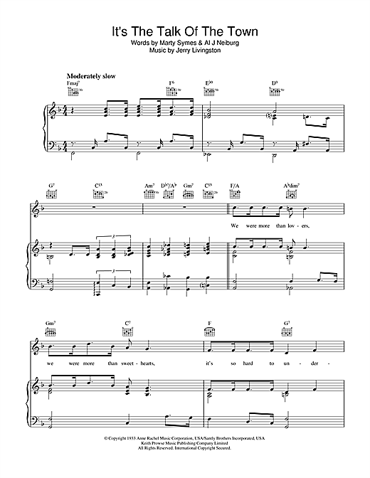 Jerry Livingston It's The Talk Of The Town sheet music notes and chords. Download Printable PDF.
