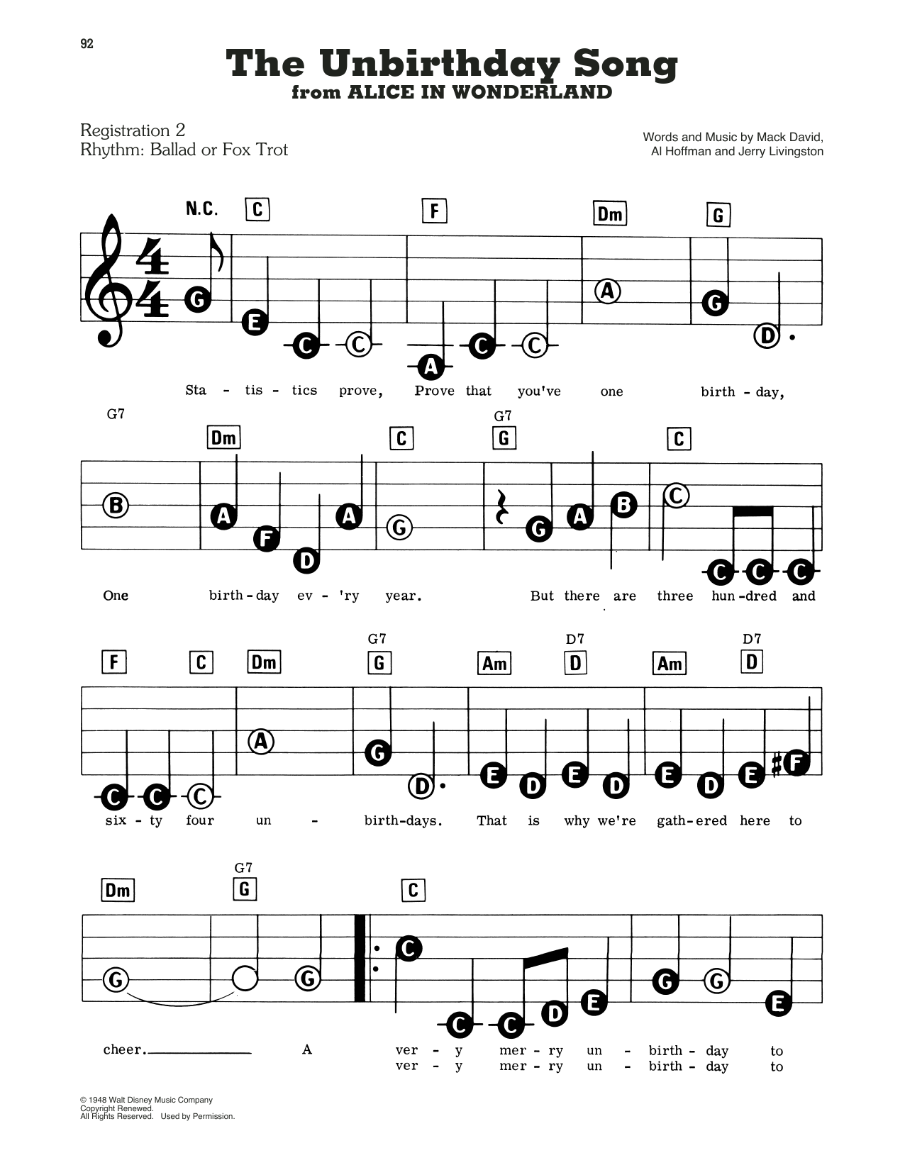 Jerry Livingston The Unbirthday Song (from Disney's Alice In Wonderland) sheet music notes and chords