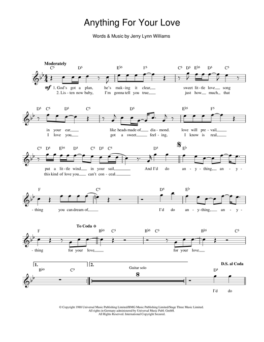 Jerry Lynn Williams Anything For Your Love sheet music notes and chords