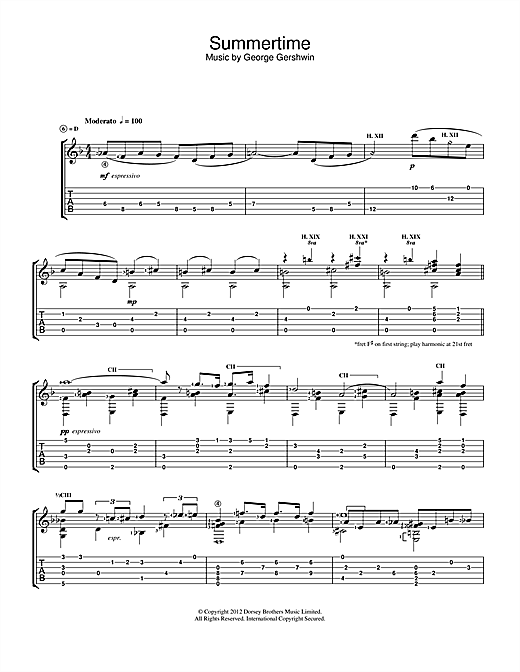 Jerry Willard Summertime sheet music notes and chords. Download Printable PDF.