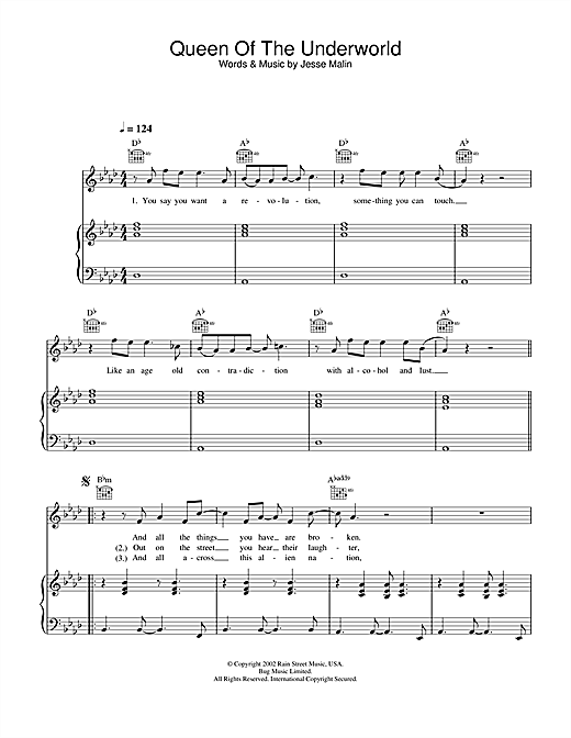 Jesse Malin Queen Of The Underworld sheet music notes and chords. Download Printable PDF.