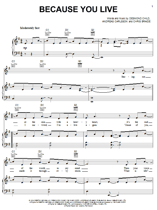 Jesse McCartney Because You Live sheet music notes and chords. Download Printable PDF.