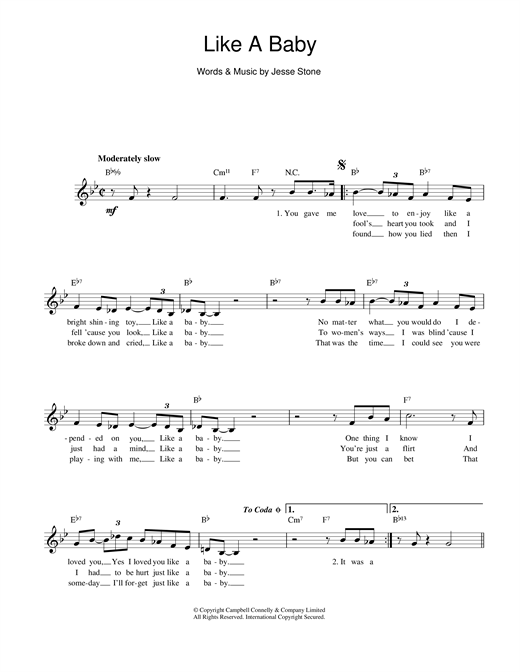 Jesse Stone Like A Baby sheet music notes and chords