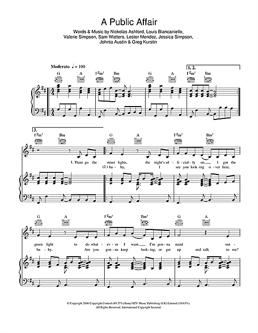 Jessica Simpson A Public Affair sheet music notes and chords. Download Printable PDF.