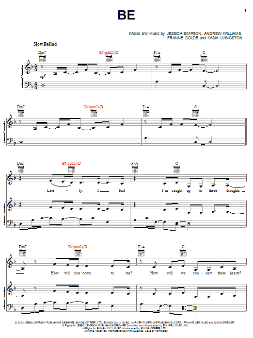 Jessica Simpson Be sheet music notes and chords. Download Printable PDF.