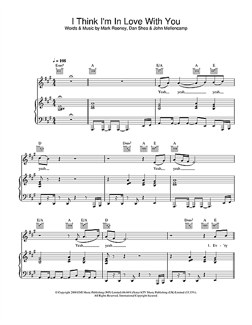 Jessica Simpson I Think I'm In Love With You sheet music notes and chords
