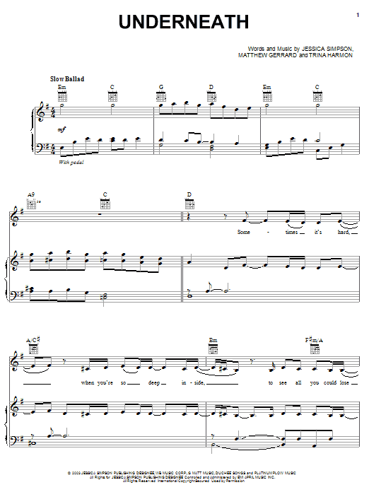 Jessica Simpson Underneath sheet music notes and chords. Download Printable PDF.