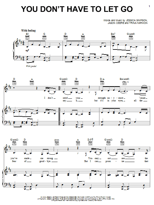Jessica Simpson You Don't Have To Let Go sheet music notes and chords. Download Printable PDF.