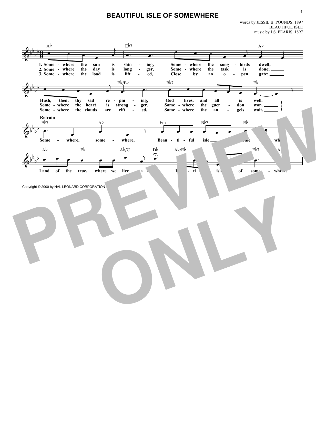 Jessie B. Pounds Beautiful Isle Of Somewhere sheet music notes and chords. Download Printable PDF.