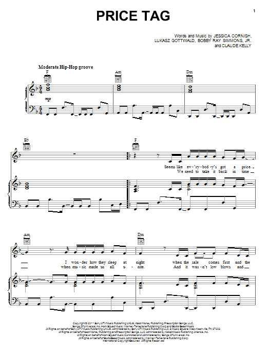 Jessie J Price Tag (feat. B.o.B) sheet music notes and chords. Download Printable PDF.