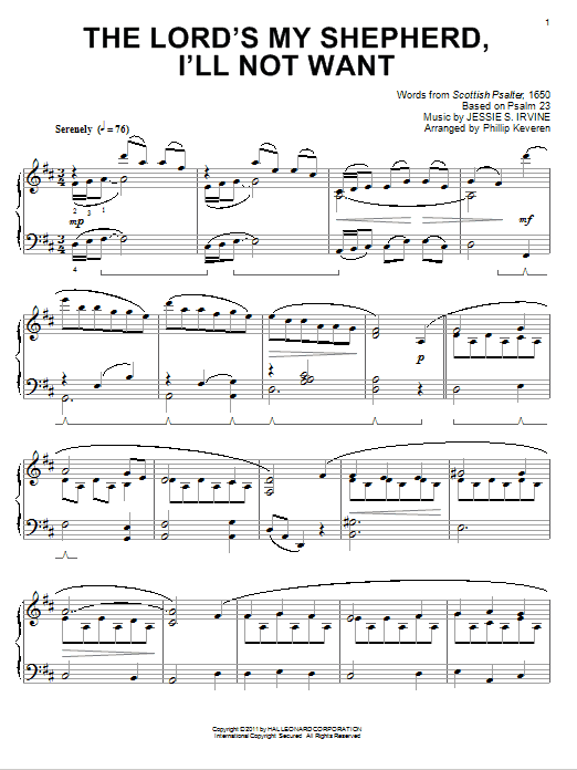 Jessie S Irvine The Lord S My Shepherd I Ll Not Want Classical Version Arr Phillip Keveren Sheet Music Pdf Notes Chords Traditional Score Piano Solo Download Printable Sku 78259