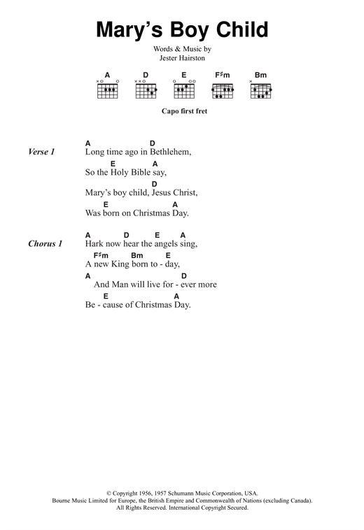 Jester Hairston Mary's Boy Child sheet music notes and chords