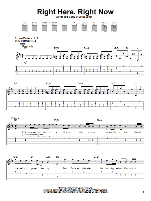 Jesus Jones Right Here, Right Now sheet music notes and chords. Download Printable PDF.