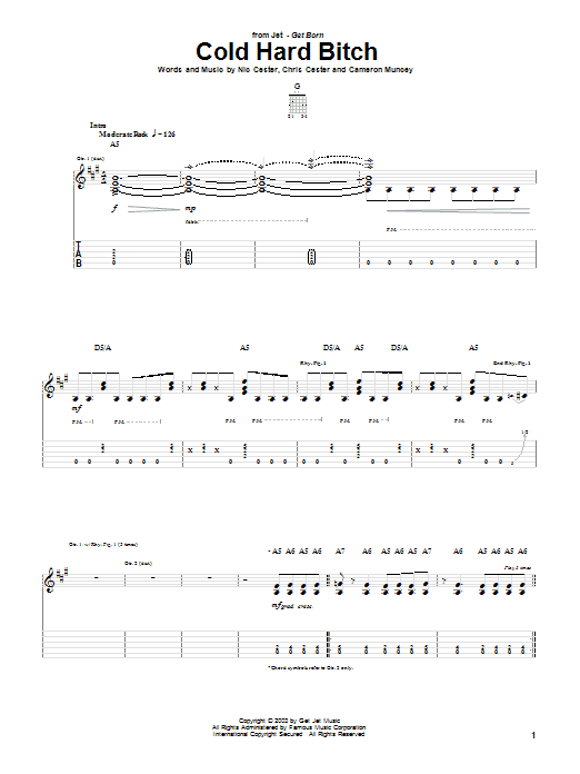 Jet Cold Hard Bitch sheet music notes and chords. Download Printable PDF.