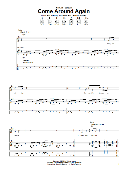 Jet Come Around Again sheet music notes and chords. Download Printable PDF.