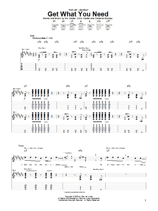 Jet Get What You Need sheet music notes and chords. Download Printable PDF.