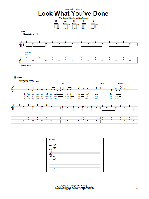 Jet Look What You've Done sheet music notes and chords. Download Printable PDF.
