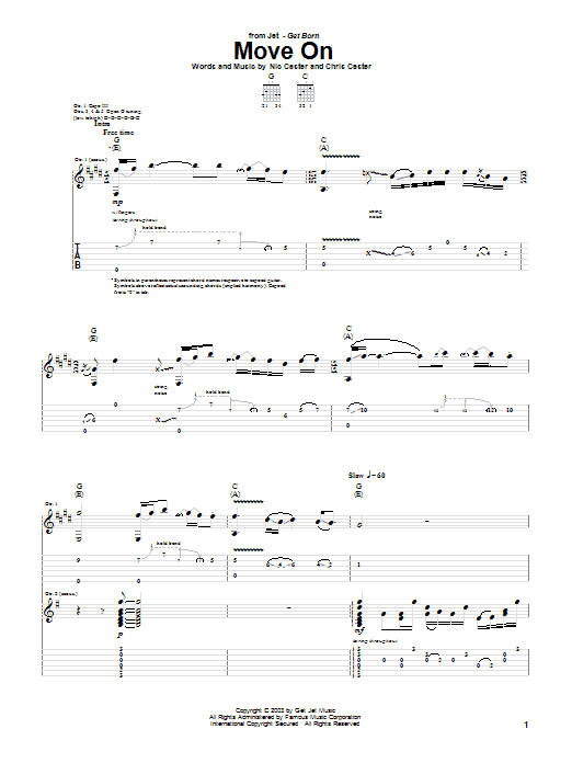 Jet Move On sheet music notes and chords. Download Printable PDF.